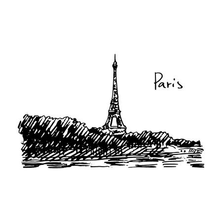 Paris, Eiffel Tower. Vector quick sketch