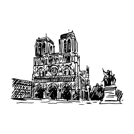 Notre-Dame de Paris. Vector quick sketch Illustration