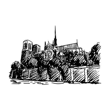Notre-Dame de Paris. Vector quick sketch Illustration