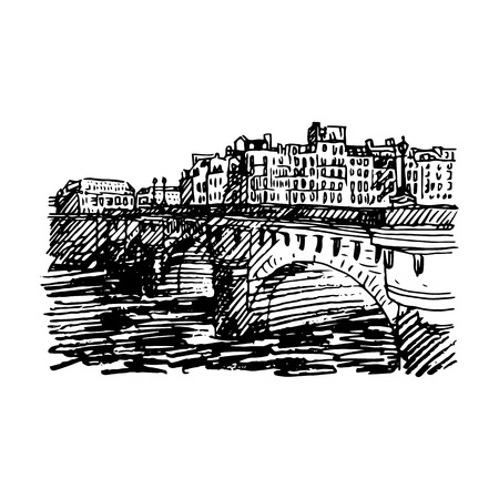 pont: Pont Neuf (New Bridge), Paris, France. Vector quick sketch