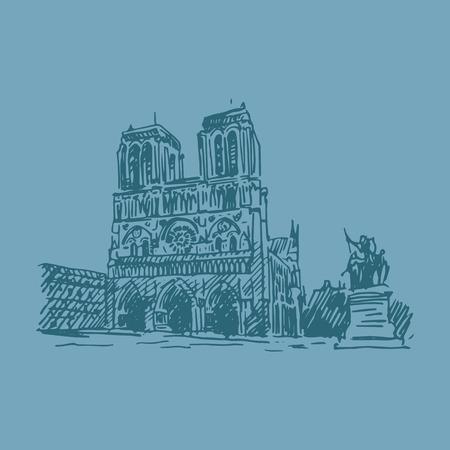gothic architecture: Notre-Dame de Paris. Vector quick sketch Illustration