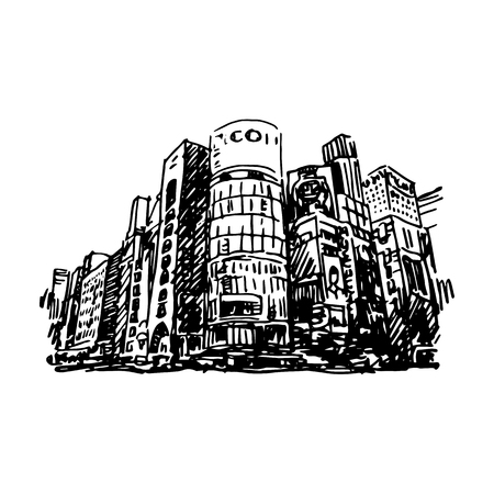 quick drawing: Tokyo, Ginza. Vector quick sketch.