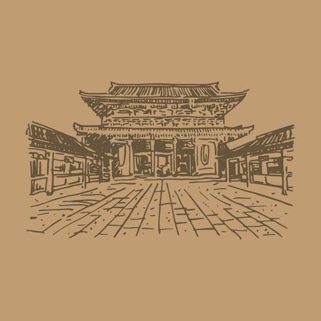 buddhist: Buddhist temple Senso-ji (Tokyo, Japan). Vector quick sketch.