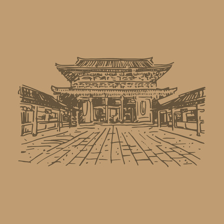 Buddhist temple Senso-ji (Tokyo, Japan). Vector quick sketch.