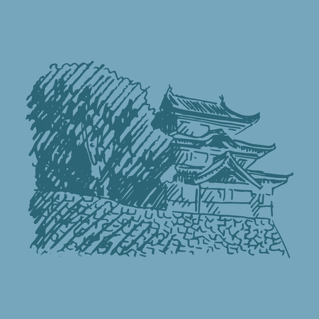 quick drawing: Tokyo Imperial Palace. Fujimi-yagura, guard building within the inner grounds of the Imperial Palace. Vector quick sketch.