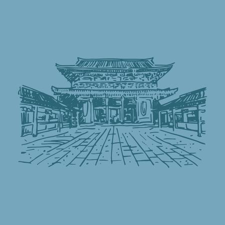 quick drawing: Buddhist temple Senso-ji (Tokyo, Japan). Vector quick sketch.