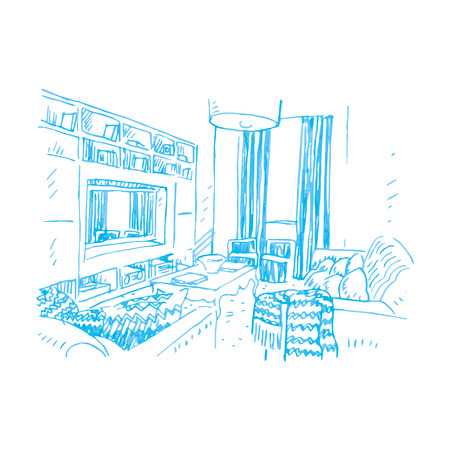 home furnishings: Interior of living room. Vector sketch Illustration