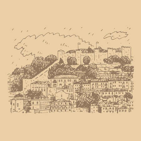 Cityscape of Lisbon, Portugal. View of the mountain of Sao Jorge Vector freehand pencil sketch.