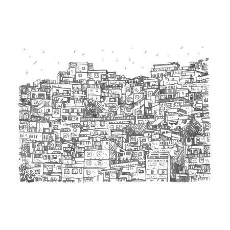 Favela, bidonville brésilien à Rio de Janeiro, Brésil. Croquis au crayon à main levée de vecteur.