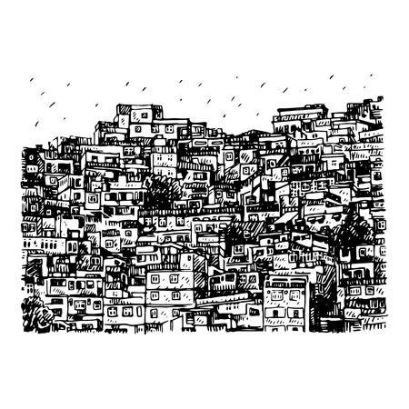 Favela, tugurio brasileño en Río de Janeiro, Brasil. Dibujo a lápiz a mano alzada de vector.