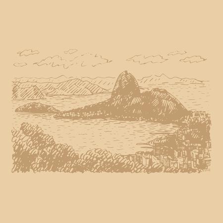 View of Sugar Loaf in Rio de Janeiro, Brazil. Vector freehand pencil sketch.