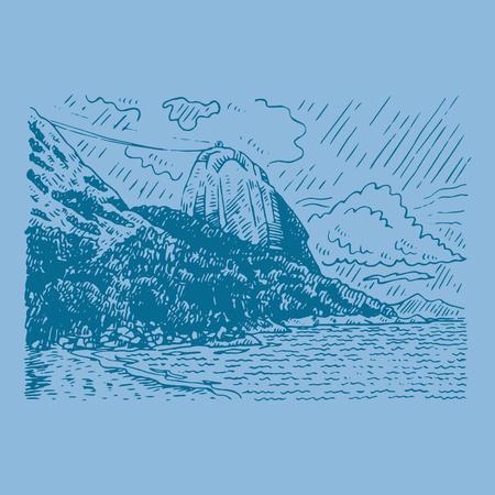 The mountain Sugar Loaf and Guanabara bay in Rio de Janeiro, Brazil. Vector freehand pencil sketch.