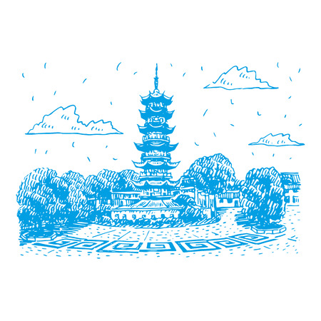 Old Longhua Pagoda in Shanghai, China. Vector freehand pencil sketch.