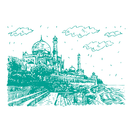 Side view of the Taj Mahal and Yamuna River. Agra, India. Vector freehand pencil sketch.