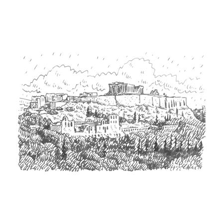 Blick auf den Tempel von Athen, Griechenland. Vektor Freihand Bleistiftskizze.