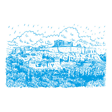 View of the Temple of Athens, Greece. Vector freehand pencil sketch.