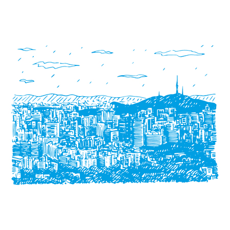 Seoul City Skyline and Seoul Tower in Seoul, South Korea. Sketch by hand. Vector illustration