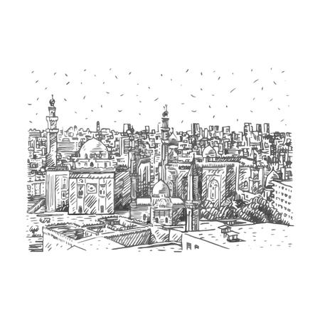 Vue sur les mosquées du Sultan Hassan et d'Al-Rifai au Caire, en Egypte. Croquis dessiné à la main. Illustration vectorielle Vecteurs