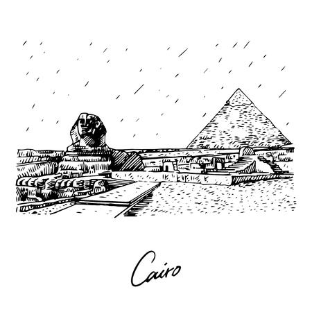 La Gran Esfinge y la Pirámide de Giza, El Cairo, Egipto. Boceto dibujado a mano. Ilustración vectorial Ilustración de vector