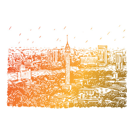 Cairo Tower in Egypt with the Nile River view. Hand drawn sketch. Vector illustration