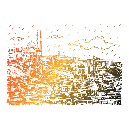 View of Cairo, Egypt. Hand drawn sketch. Vector illustration
