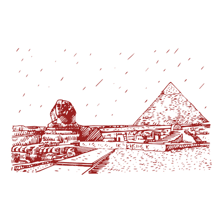 The Great Sphinx and the Pyramid in Giza, Cairo, Egypt. Hand drawn sketch. Vector illustration