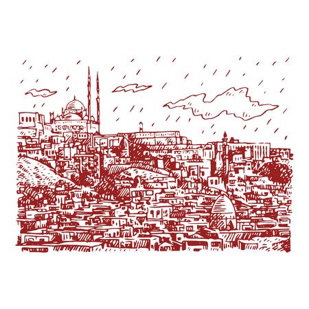 Vue du Caire, Egypte. Croquis dessiné à la main. Illustration vectorielle