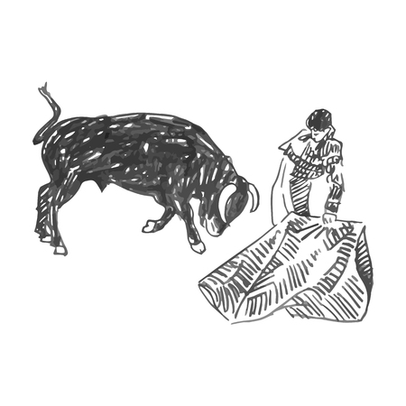 Corrida, bullfighting in Spain. A bullfighter awaiting for the bull. Hand drawn on white background. Vector illustration