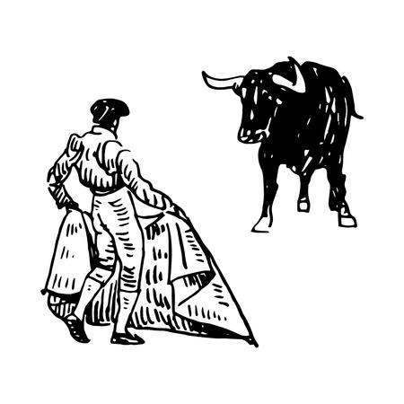 Corrida, bullfighting in Spain. A bullfighter awaiting for the bull. Hand drawn pencil sketch. Vector illustration