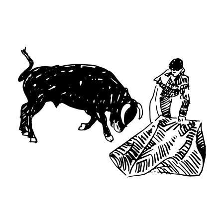 Corrida, bullfighting in Spain. A bullfighter awaiting for the bull. Hand drawn pencil sketch. Vector illustration Vettoriali