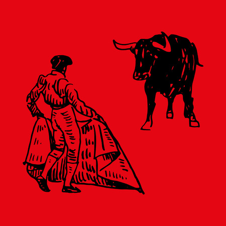 Corrida, bullfighting in Spain. A matador awaiting for the bull. Hand drawn sketch on red background. Vector illustration