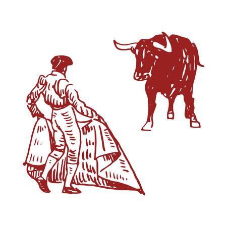 Corrida, bullfighting in Spain. A bullfighter awaiting for the bull. Hand drawn pencil sketch. Vector illustration Çizim