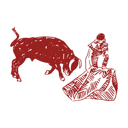 Corrida, bullfighting in Spain. A bullfighter awaiting for the bull. Hand drawn pencil sketch. Vector illustration 矢量图像