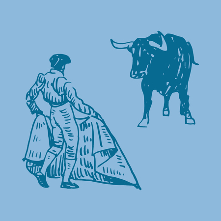Corrida, bullfighting in Spain. A bullfighter awaiting for the bull. Hand drawn pencil sketch. Vector illustration Ilustrace