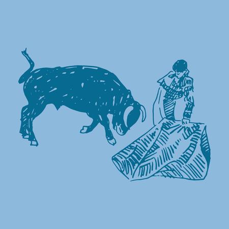 Corrida, bullfighting in Spain. A bullfighter awaiting for the bull. Hand drawn pencil sketch. Vector illustration Illustration