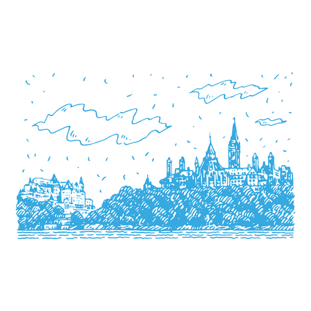 Fairmount Chateau in Ottawa, Canada. Hand drawn sketch. Vector illustration Banque d'images - 121414932