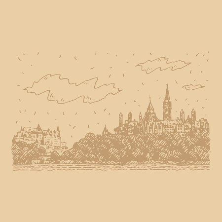 Fairmount Chateau in Ottawa, Canada. Hand drawn sketch. Vector illustration Banque d'images - 121414935