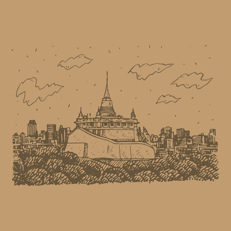 The Golden Mount at Wat Saket in Bangkok, Thailand. Sketch by hand. Vector illustration Stock Vector - 121414978