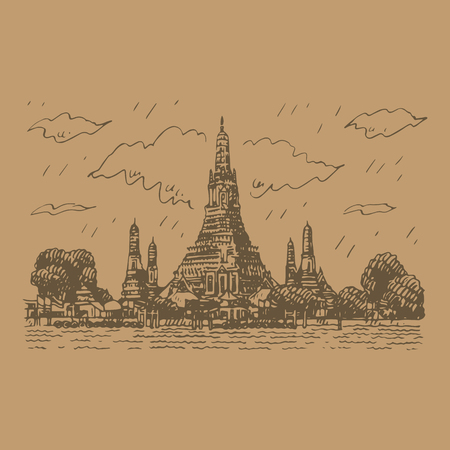 Wat Arun Temple in Bangkok, Thailand. Sketch by hand. Vector illustration  イラスト・ベクター素材