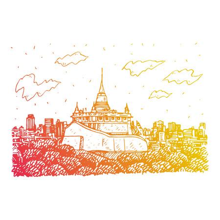 The Golden Mount at Wat Saket in Bangkok, Thailand. Sketch by hand. Vector illustration