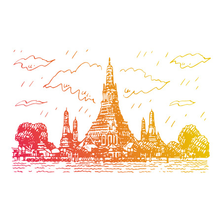Wat Arun Temple in Bangkok, Thailand. Sketch by hand. Vector illustration Ilustração