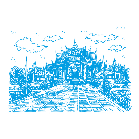 The Marble Temple (Wat Benchamabopit Dusitvanaram) in Bangkok, Thailand. Buddhist temple. Sketch by hand. Vector illustration