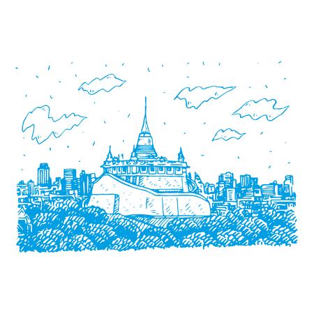 The Golden Mount at Wat Saket in Bangkok, Thailand. Sketch by hand. Vector illustration Stock Vector - 121415048
