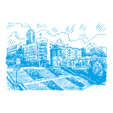 It is a city of Ekaterinburg, Russia. Sketch by hand. Vector illustration