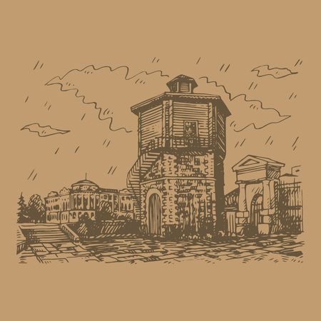 The old water tower in Yekaterinburg, Russia. Symbol of the city. Sketch by hand. Vector illustration