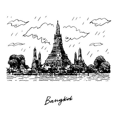 Wat Arun Temple in Bangkok, Thailand. Sketch by hand. Vector illustration Illusztráció