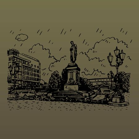 Monument to the Russian poet Pushkin in Moscow Pushkin Square. Sketch by hand. Vector illustration