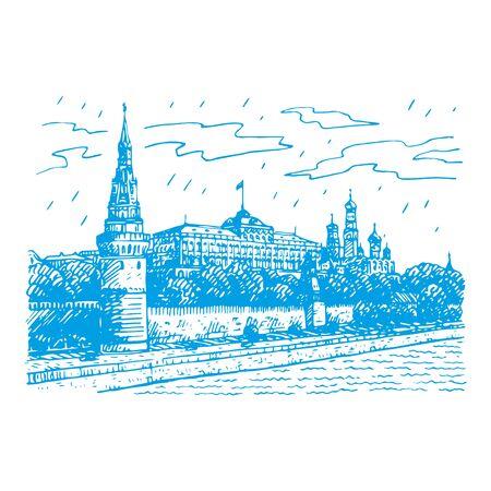 Blick auf den Moskauer Kreml und die Moskwa, Russland. Von Hand skizzieren. Vektor-Illustration