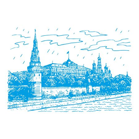 View of Moscow Kremlin and Moscow River, Russia. Sketch by hand. Vector illustration Stock Illustratie