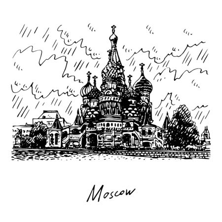 St. Basil Cathedral on Red Square in Moscow, Russia. Sketch by hand. Vector illustration. Engraving style